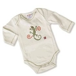 Sckoon Organic Cotton Long Sleeve Baby Onesie Green Gekko