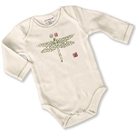 Sckoon Organic Cotton Long Sleeve Baby Onesie Green Dragonfly
