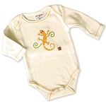 Sckoon Organic Cotton Long Sleeve Baby Onesie Yellow Gekko
