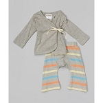 Sckoon Organic Cotton Baby Layette Kimono And Pants Set Bliss Stripes