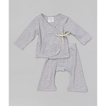 Sckoon Organic Cotton Baby Layette Kimono And Pants Set Dark & Light Gray Stripes