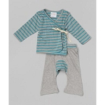 Sckoon Organic Cotton Baby Layette Kimono And Pants Set Green-tea/Gray Stripes