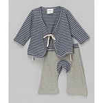 Sckoon Organic Cotton Baby Layette Kimono And Pants Set Meditation Stripes