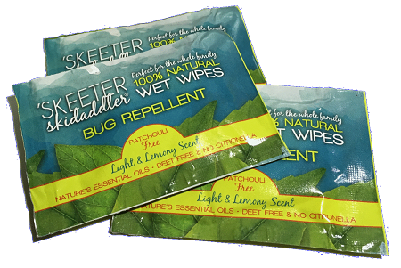 Skeeter Skidaddler 100 Natural Bug Repellent Wipe Light