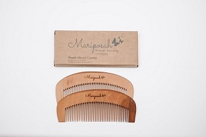 Mariposah Peach Wood Combs - Sustainable, Natural, Durable & Biodegradable