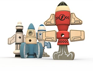 Begin Again Toys Tinker Totter Rockets - Construction & Character set